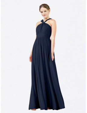 A-Line V-Neck Floor Length Long Dark Navy Chiffon Isabella Bridesmaid Dress for Sale