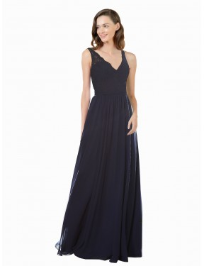 A-Line V-Neck Floor Length Long Dark Navy Chiffon & Lace Keely Bridesmaid Dress for Sale