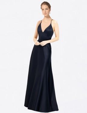 A-Line V-Neck Floor Length Long Dark Navy Satin Mary Bridesmaid Dress for Sale