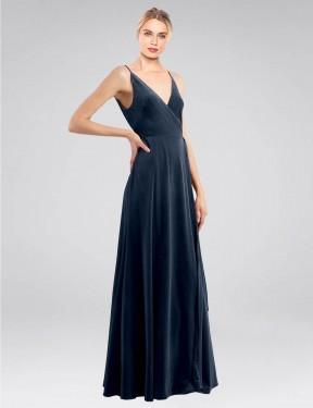 A-Line V-Neck Floor Length Long Dark Navy Stretch Velvet Macholl Bridesmaid Dress for Sale
