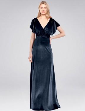 A-Line V-Neck Floor Length Long Dark Navy Stretch Velvet Pinto Bridesmaid Dress for Sale