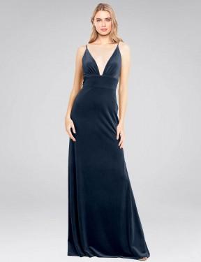 A-Line V-Neck Floor Length Long Dark Navy Stretch Velvet Sammi Bridesmaid Dress for Sale