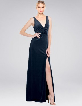 A-Line V-Neck Floor Length Long Dark Navy Stretch Velvet Scotti Bridesmaid Dress for Sale