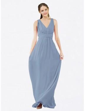 A-Line V-Neck Floor Length Long Dusty Blue Chiffon Ava Bridesmaid Dress for Sale