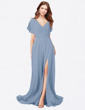 A-Line V-Neck Floor Length Long Dusty Blue Chiffon Marisol Bridesmaid Dress for Sale