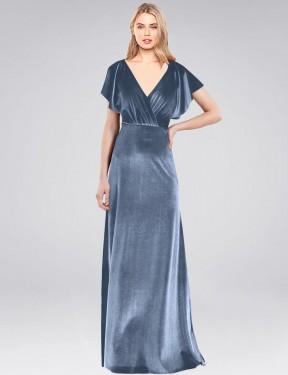 A-Line V-Neck Floor Length Long Dusty Blue Stretch Velvet Pinto Bridesmaid Dress for Sale