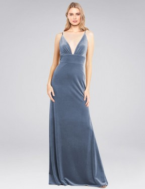 A-Line V-Neck Floor Length Long Dusty Blue Stretch Velvet Sammi Bridesmaid Dress for Sale