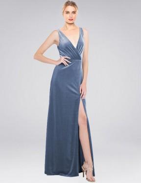 A-Line V-Neck Floor Length Long Dusty Blue Stretch Velvet Scotti Bridesmaid Dress for Sale