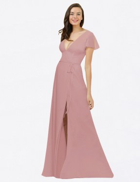 A-Line V-Neck Floor Length Long Dusty Pink Chiffon Dayna Bridesmaid Dress for Sale