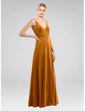 A-Line V-Neck Floor Length Long Gold Stretch Velvet Macholl Bridesmaid Dress for Sale