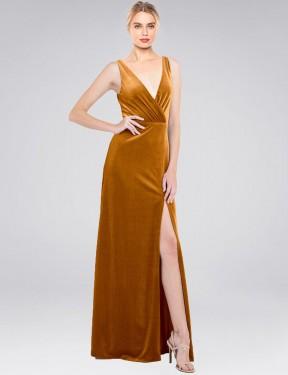 A-Line V-Neck Floor Length Long Gold Stretch Velvet Scotti Bridesmaid Dress for Sale