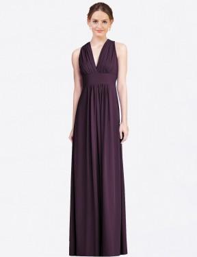 A-Line V-Neck Floor Length Long Grape Chiffon Evie Bridesmaid Dress for Sale