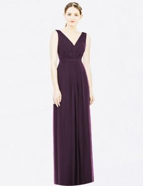 A-Line V-Neck Floor Length Long Grape Chiffon Kelsey Bridesmaid Dress for Sale
