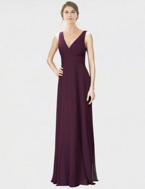 A-Line V-Neck Floor Length Long Grape Chiffon & Lace Jennylyn Bridesmaid Dress for Sale