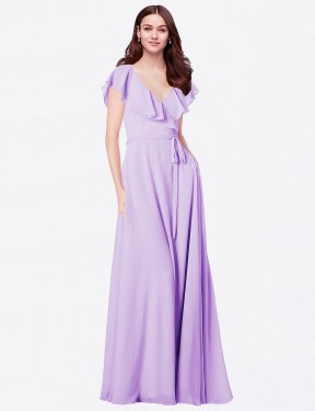 A-Line V-Neck Floor Length Long Lilac Chiffon Chante Bridesmaid Dress for Sale