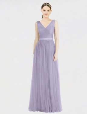 A-Line V-Neck Floor Length Long Lilac Tulle Tinsley Bridesmaid Dress for Sale