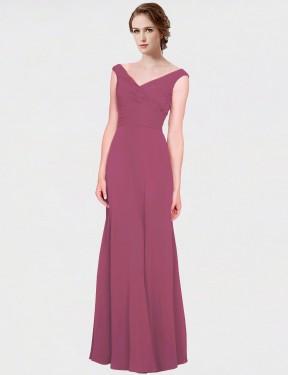 A-Line V-Neck Floor Length Long Mauve Taupe Chiffon Madalynn Bridesmaid Dress for Sale