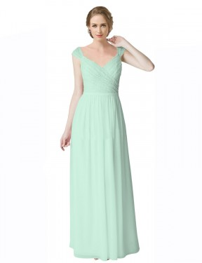 A-Line V-Neck Floor Length Long Mint Green Chiffon & Lace Raylee Bridesmaid Dress for Sale
