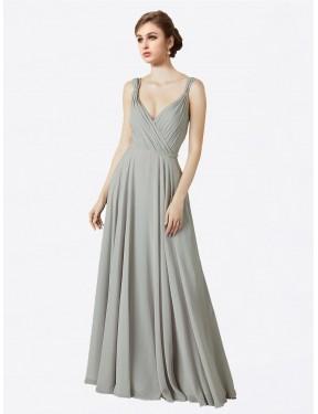 A-Line V-Neck Floor Length Long Oyster Silver Chiffon Alexandra Bridesmaid Dress for Sale