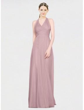 A-Line V-Neck Floor Length Long Pink Tulle Corinne Bridesmaid Dress for Sale
