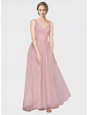 A-Line V-Neck Floor Length Long Pink Tulle Dalary Bridesmaid Dress for Sale