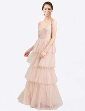 A-Line V-Neck Floor Length Long Pink Tulle Hazel Bridesmaid Dress for Sale
