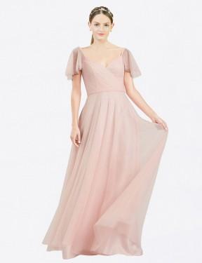A-Line V-Neck Floor Length Long Pink Tulle Riley Bridesmaid Dress for Sale
