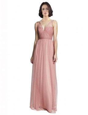 A-Line V-Neck Floor Length Long Rose Pink Tulle Rayna Bridesmaid Dress for Sale