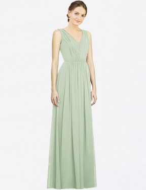 A-Line V-Neck Floor Length Long Sage Chiffon Francesca Bridesmaid Dress for Sale