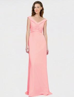 A-Line V-Neck Floor Length Long Salmon Chiffon Robin Bridesmaid Dress for Sale
