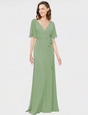 A-Line V-Neck Floor Length Long Seagrass Chiffon Bergin Bridesmaid Dress for Sale