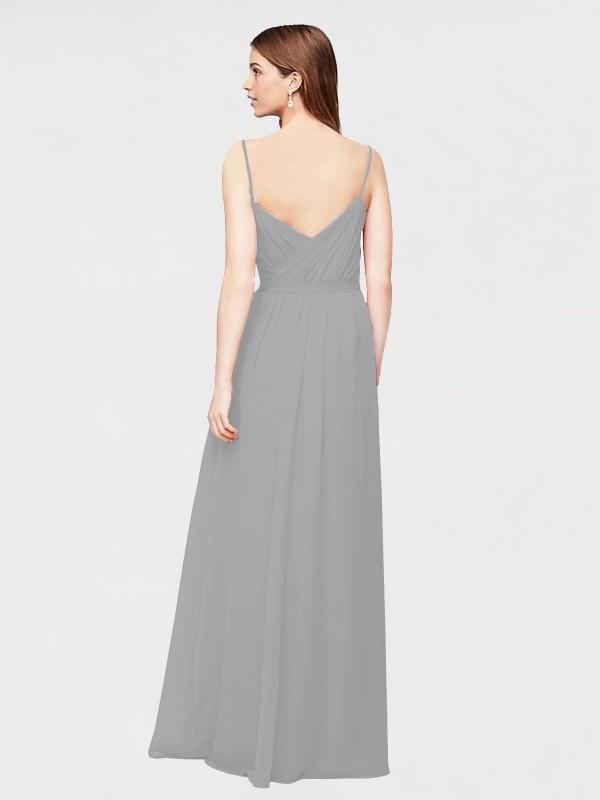 A-Line V-Neck Floor Length Long Silver Chiffon Chaloux Bridesmaid Dress for Sale