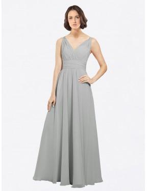 A-Line V-Neck Floor Length Long Silver Chiffon Liliana Bridesmaid Dress for Sale
