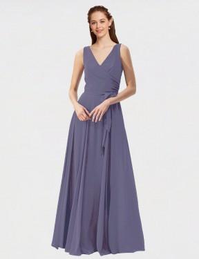 A-Line V-Neck Floor Length Long Silver Stone Chiffon Shalene Bridesmaid Dress for Sale
