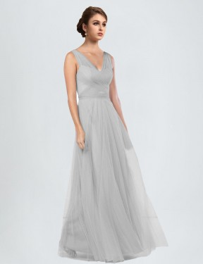 A-Line V-Neck Floor Length Long Silver Tulle Cassandra Bridesmaid Dress for Sale