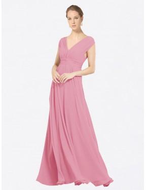 A-Line V-Neck Floor Length Long Skin Pink Chiffon Faith Bridesmaid Dress for Sale