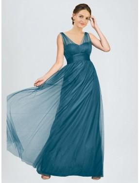 A-Line V-Neck Floor Length Long Teal Green Tulle Reagan Bridesmaid Dress for Sale