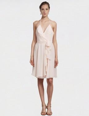 A-Line V-Neck Halter Knee Length Short Cream Pink Chiffon Clarissa Bridesmaid Dress for Sale