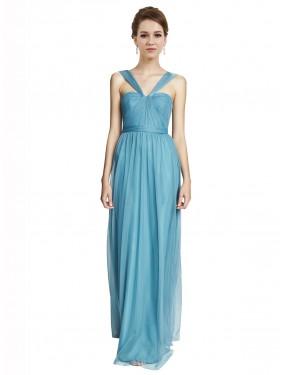 A-Line V-Neck Halter Spaghetti Straps Floor Length Long Sky Blue Tulle Bridget Bridesmaid Dress for Sale
