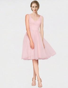 A-Line V-Neck Knee Length Long Pink Tulle Kaelyn Bridesmaid Dress for Sale
