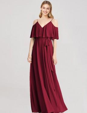 A-Line V-Neck Knee Length Short Burgundy Chiffon Sherry Bridesmaid Dress for Sale