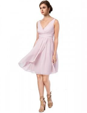 A-Line V-Neck Knee Length Short Chiffon Remy Bridesmaid Dress for Sale