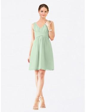 A-Line V-Neck Knee Length Short Sage Chiffon Grace Bridesmaid Dress for Sale
