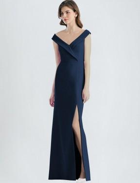 A-Line V-Neck Off-the-Shoulder Floor Length Long Dark Navy Stretch Crepe Carlee Bridesmaid Dress for Sale