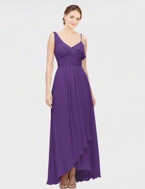 A-Line V-Neck One Shoulder High Low Floor Length Long Plum Purple Chiffon Alia Bridesmaid Dress for Sale