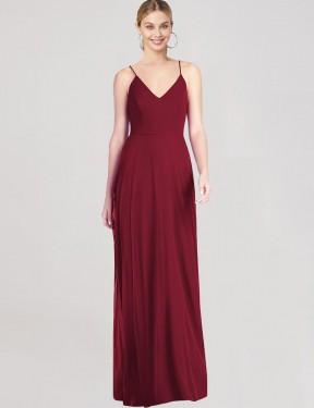 A-Line V-Neck Spaghetti Straps Floor Length Long Burgundy Chiffon Emer Bridesmaid Dress