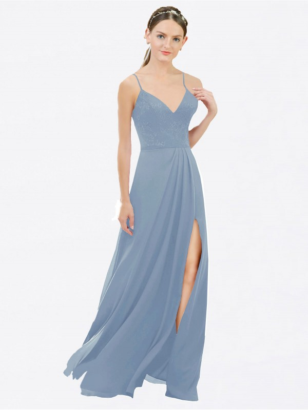 A-Line V-Neck Spaghetti Straps Floor Length Long Dusty Blue Chiffon & Lace Martha Bridesmaid Dress for Sale