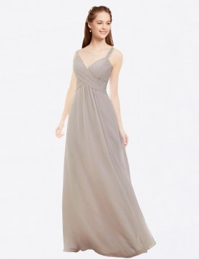 A-Line V-Neck Spaghetti Straps Floor Length Long Oyster Silver Chiffon Livia Bridesmaid Dress for Sale