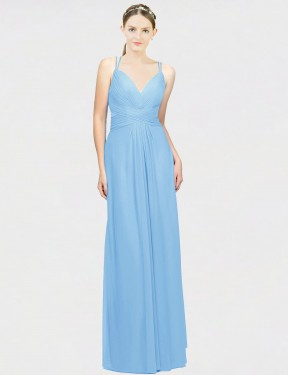 A-Line V-Neck Spaghetti Straps Floor Length Long Periwinkle Chiffon Miley Bridesmaid Dress for Sale