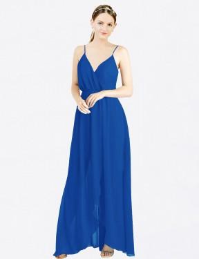 A-Line V-Neck Spaghetti Straps Floor Length Long Royal Blue Chiffon Melania Bridesmaid Dress for Sale